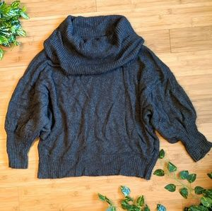 Soft gray Angora cowl neck slouchy Express sweater